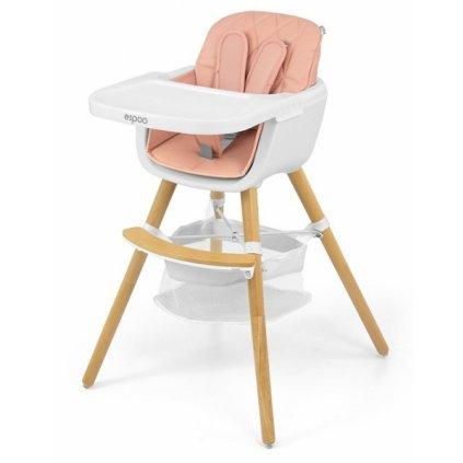 Milly Mally Luxusné jedálenský stolček, kresielko Espoo 2v1, ružová