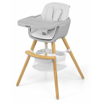Milly Mally Luxusné jedálenský stolček, kresielko Espoo 2v1, biela
