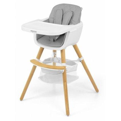 Milly Mally Luxusné jedálenský stolček, kresielko Espoo 2v1, sivá