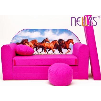 NELLYS Rozkladacia detská pohovka 58R - Kone v ružovej