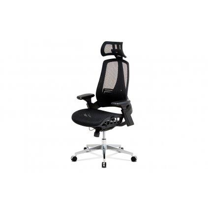 Kancelárska stolička, čierna MESH sieťovina, lankový mech., Kovový kríž