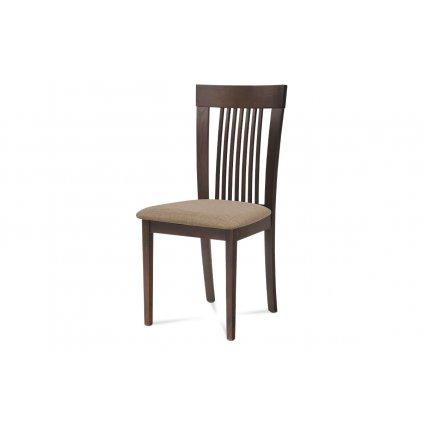 Jedálenská stolička, masív buk, farba orech, látkový béžový poťah