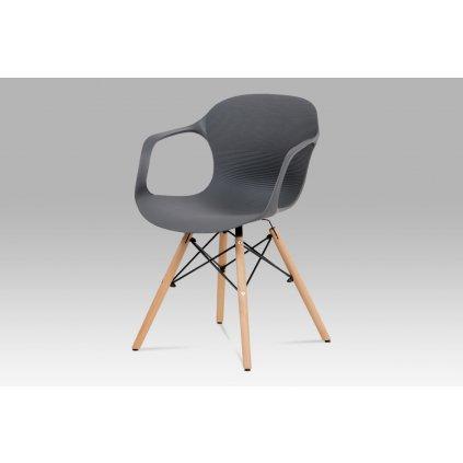 Jedálenská stolička, sivý štrukturovaný plast / natural