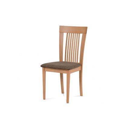 Jedálenská stolička, masív buk, farba buk, látkový hnedý poťah
