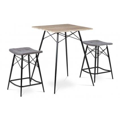 Barový set (1 + 2), MDF, dekor dub Sonoma, látka šedá, kov matná čierna