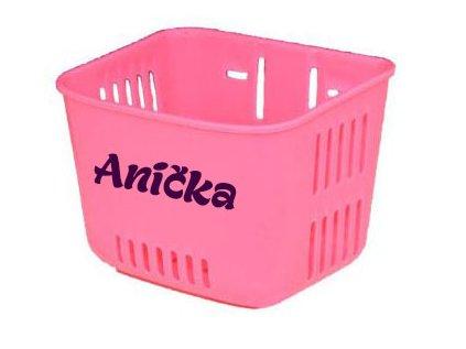 Košík na odrážadlo s menom - ružový