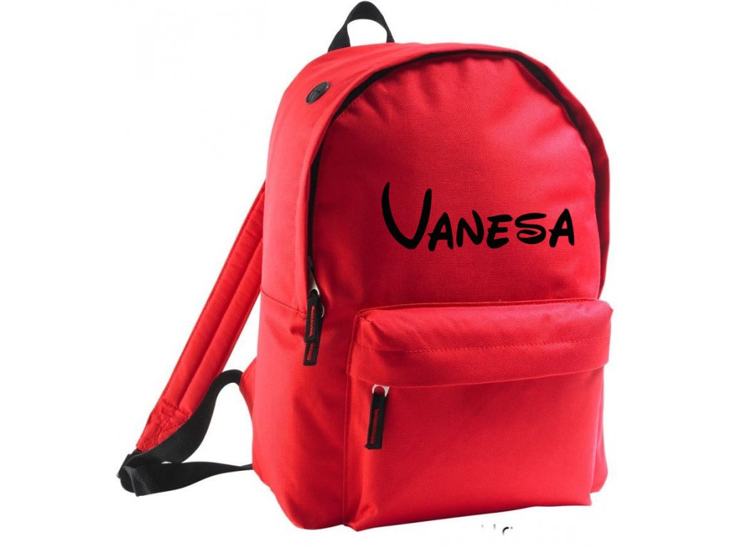 batoh se jménem - větší - červený