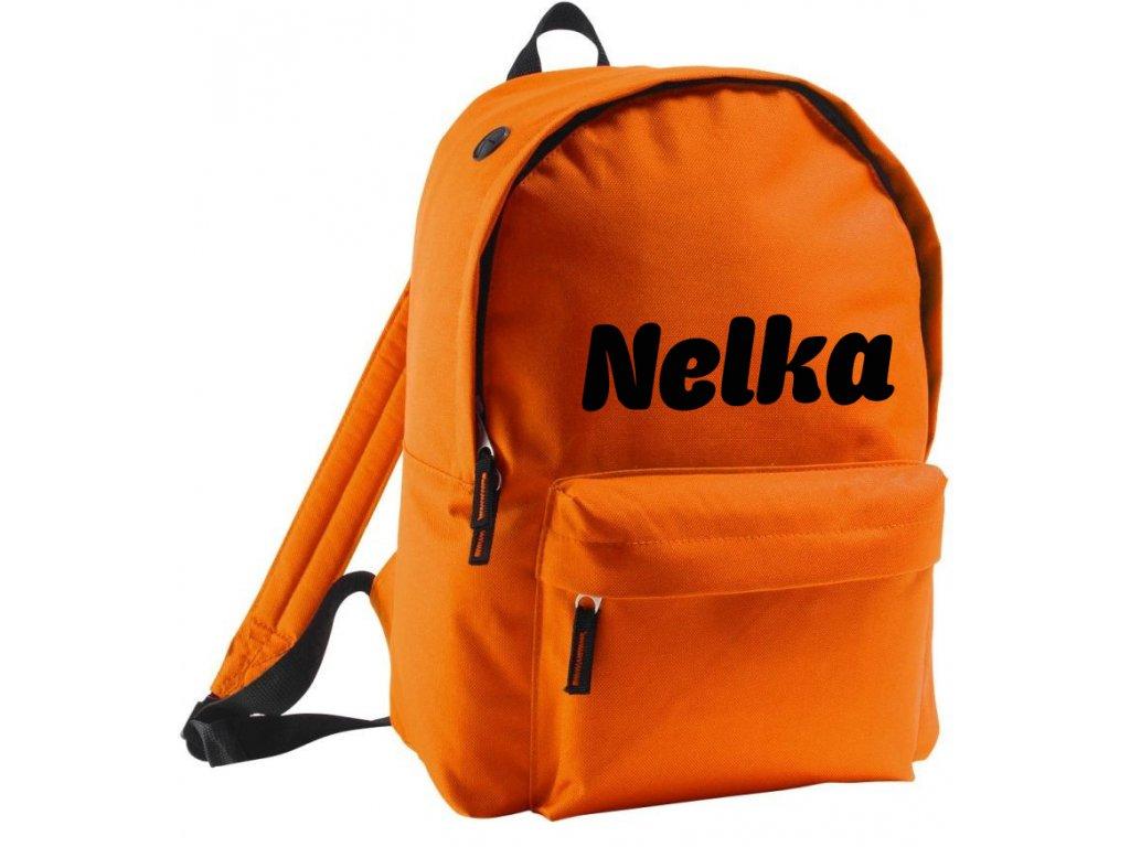 batoh se jménem - větší - oranžový
