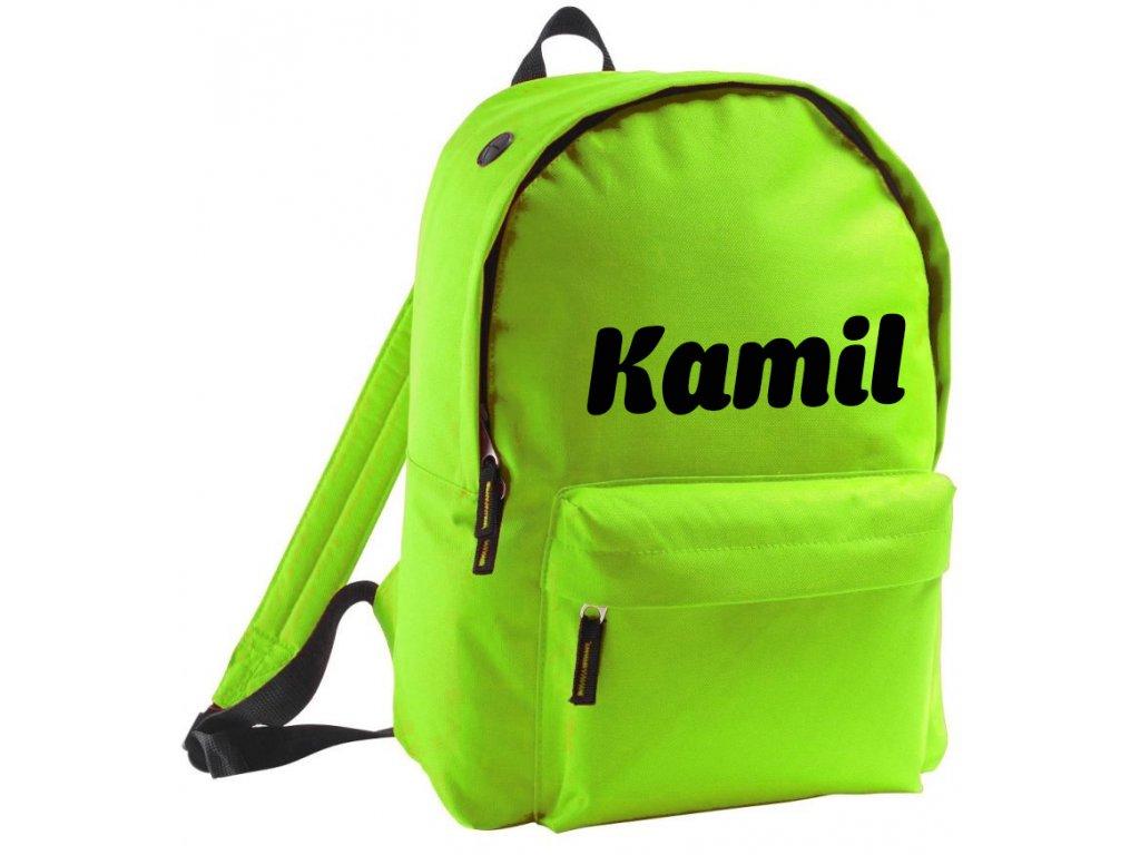batoh se jménem - větší - zelený