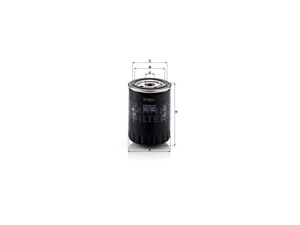 Olejový filtr MANN-FILTER W 830/1