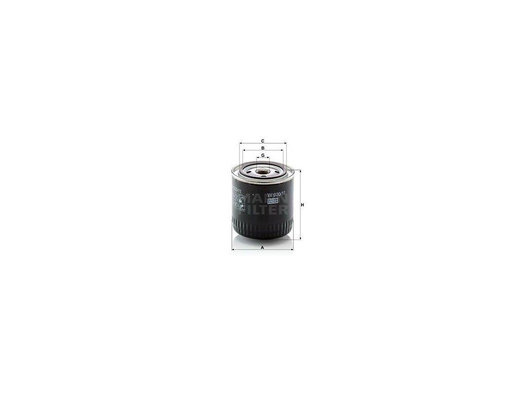 Olejový filtr MANN-FILTER W 920/11