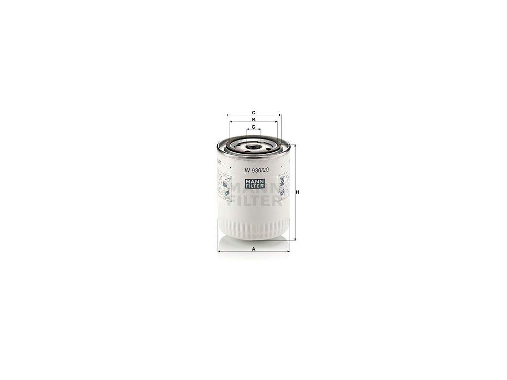 Olejový filtr MANN-FILTER W 930/20