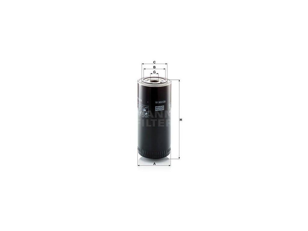 Olejový filtr MANN-FILTER W 962/28