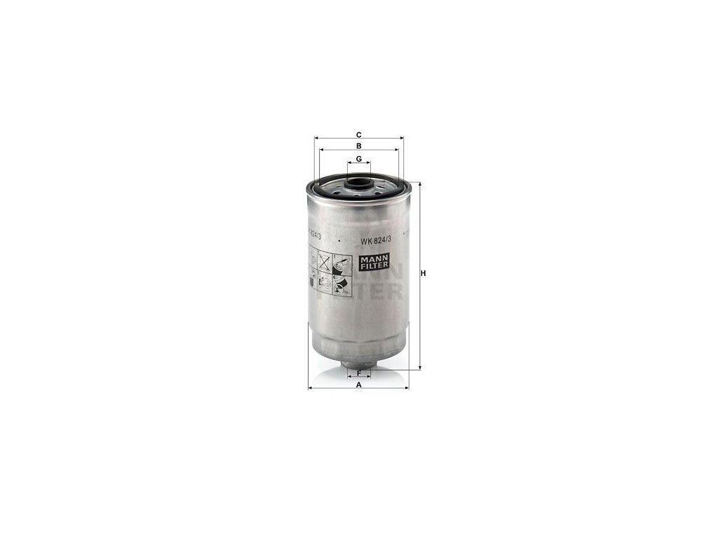Palivový filtr MANN-FILTER WK 824/3