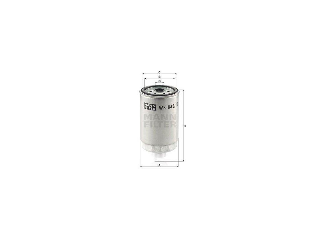 Palivový filtr MANN-FILTER WK 842/16