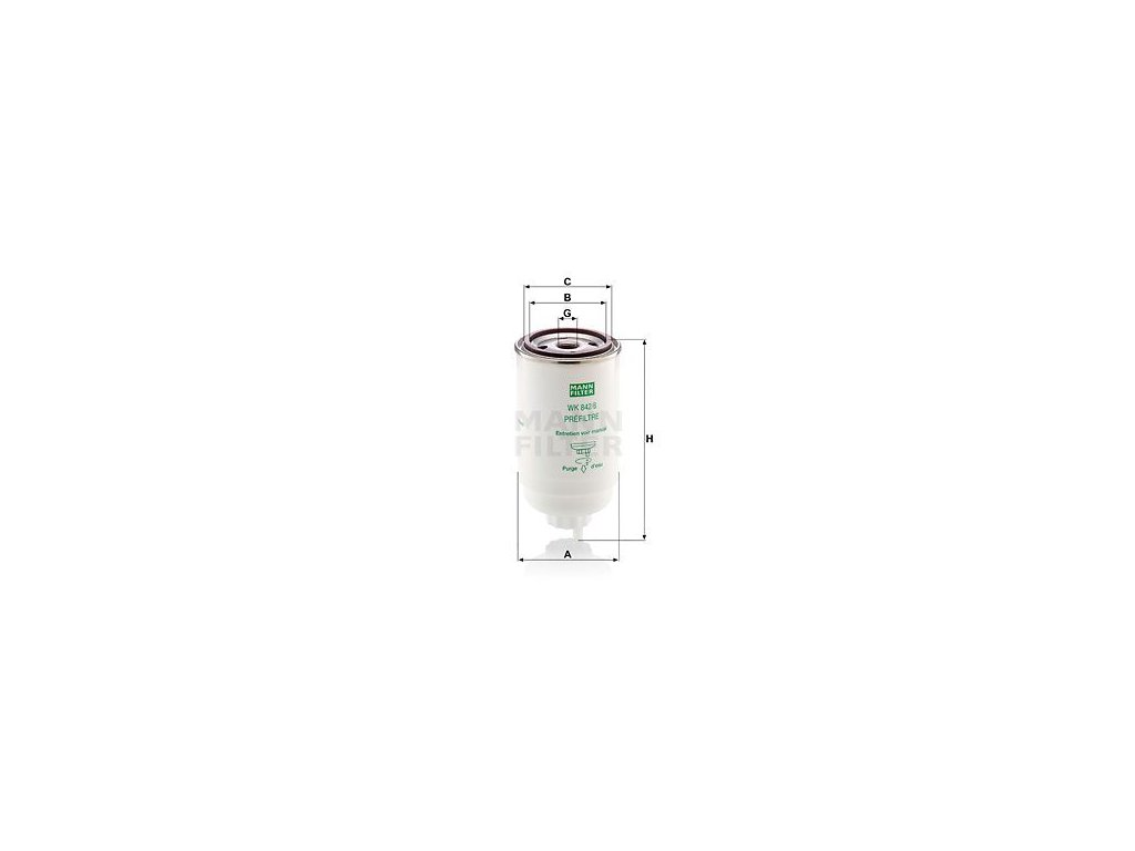 Palivový filtr MANN-FILTER WK 842/6