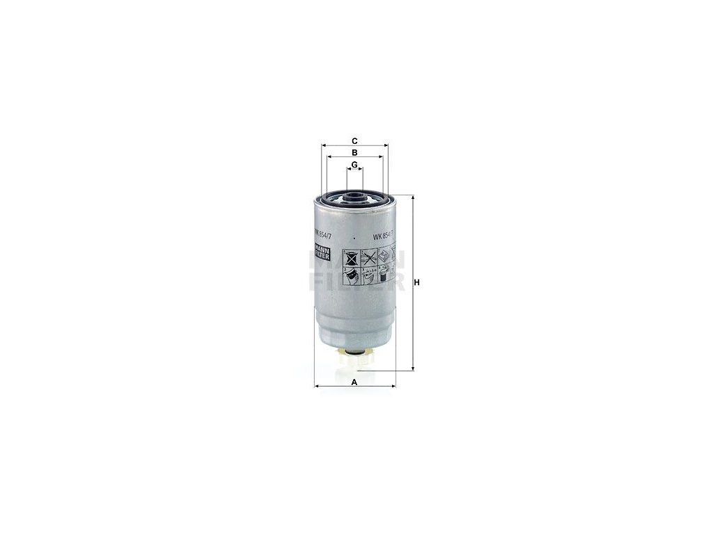 Palivový filtr MANN-FILTER WK 854/7