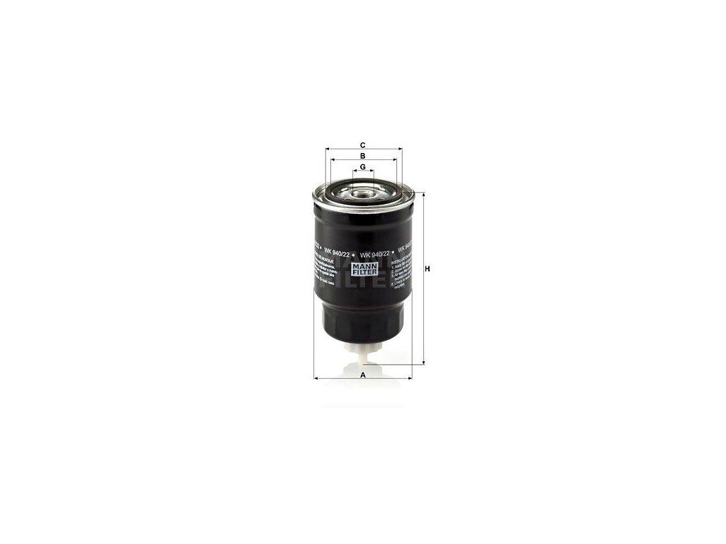 Palivový filtr MANN-FILTER WK 940/22