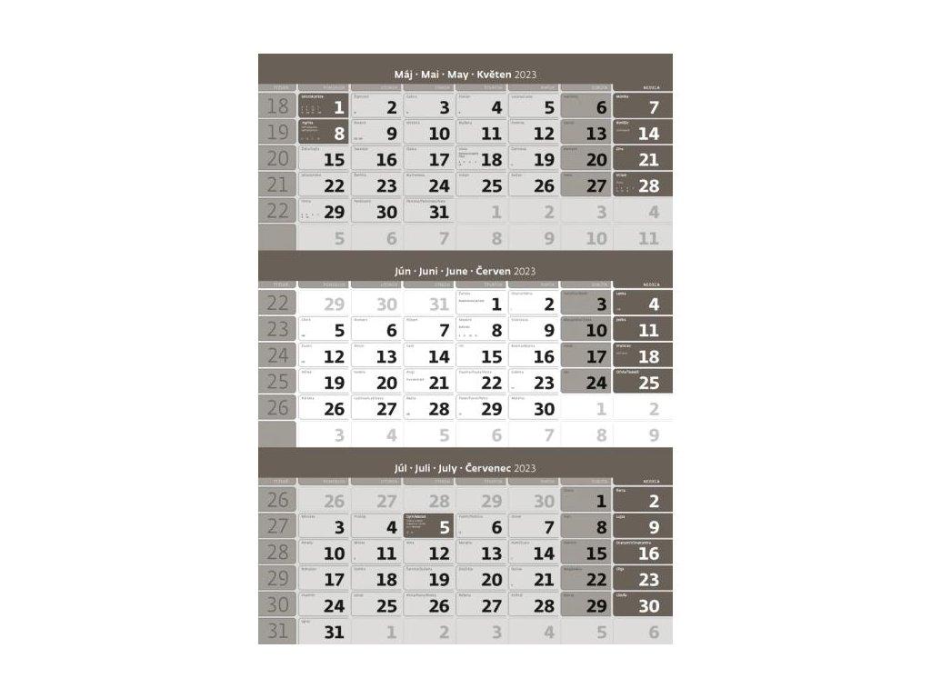 Trojmesačný kalendár sivý 2022