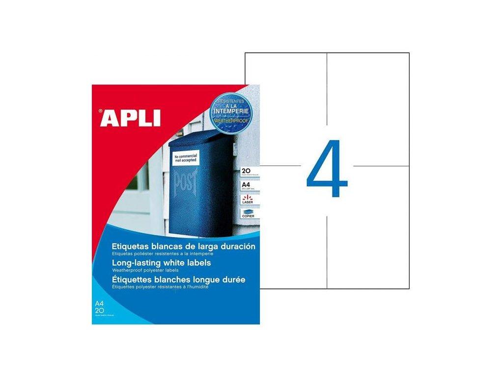 Etikety polyesterové 105x148mm APLI 20 hárkov