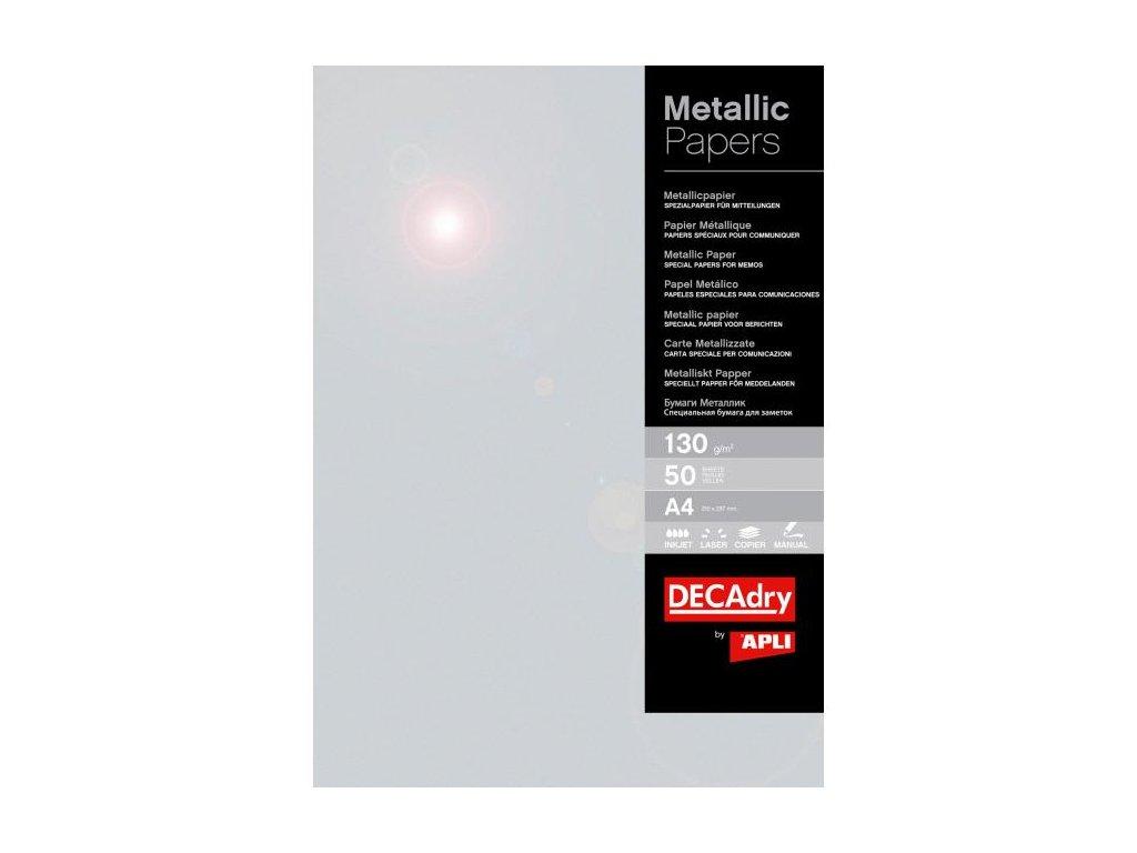 Metalický papier APLI A4 strieborná 130g 50 hárkov