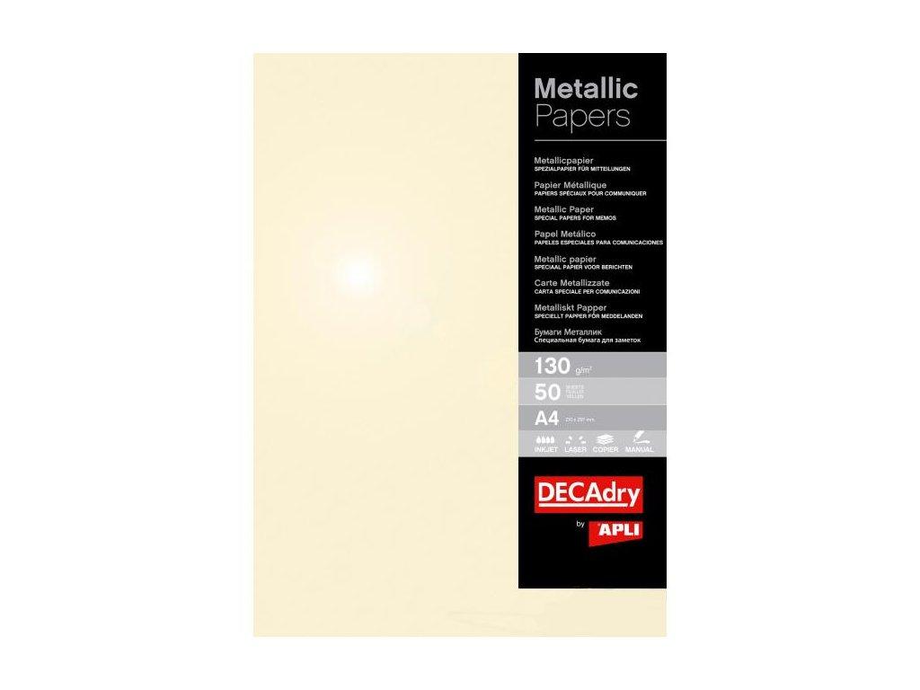 Metalický papier APLI A4 šampanské 130g 50 hárkov