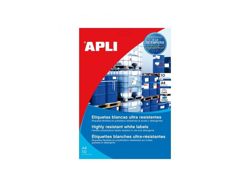 Etikety polyetylénové vysoko odolné 105x148,5 APLI 10 hárkov biele
