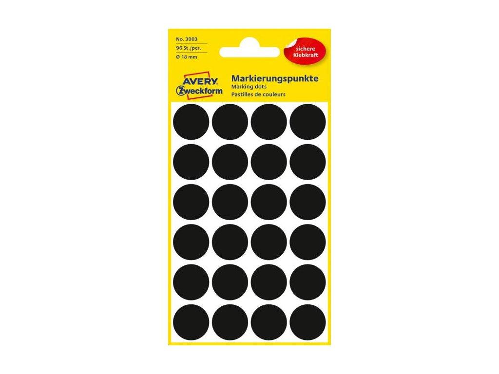 Etikety kruhové 18mm Avery čierne