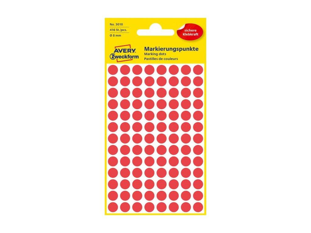 Etikety kruhové 8mm Avery červené