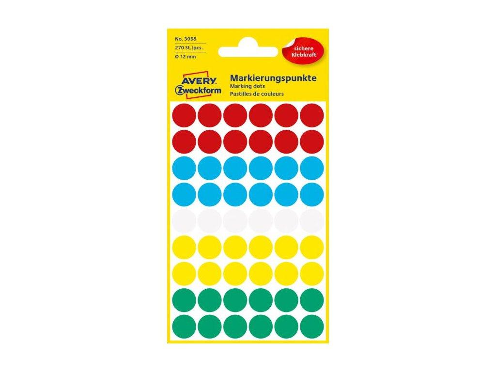 Etikety kruhové 12mm Avery mix farieb