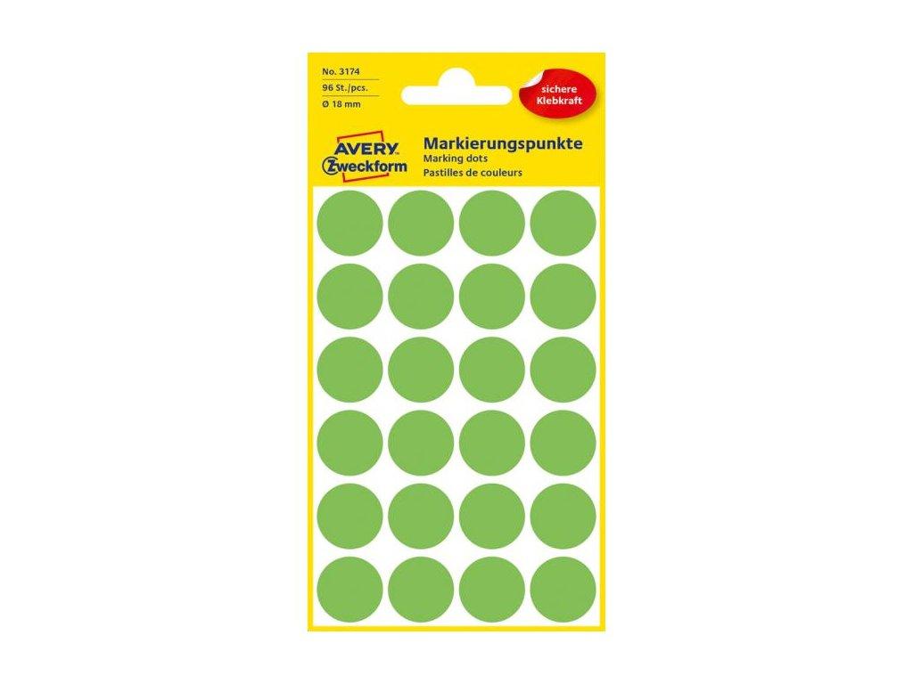 Etikety kruhové 18mm Avery neónovo zelené