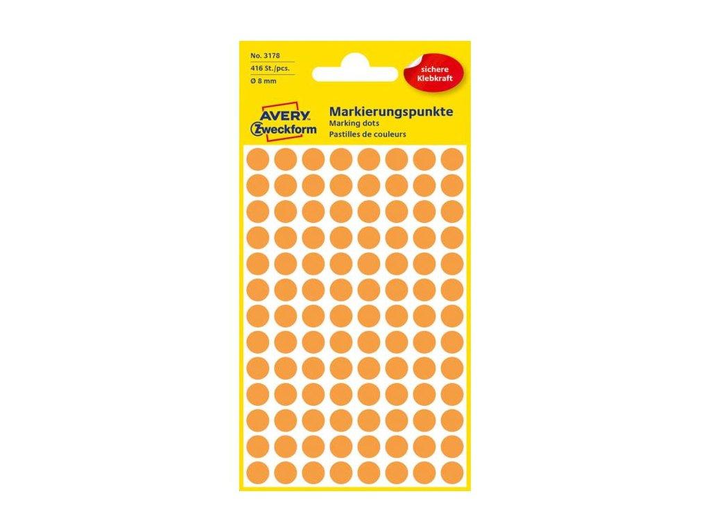 Etikety kruhové 8mm Avery neónovo oranžové