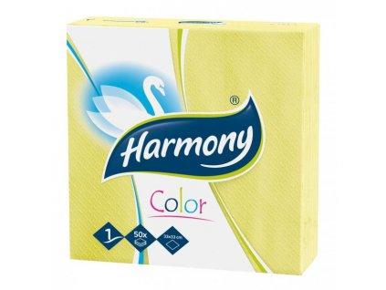 Papierové servítky 1-vrstvové HARMONY 33x33cm žlté 50 ks