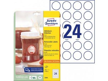 Etikety kruhové 40mm Avery 10 hárkov biele