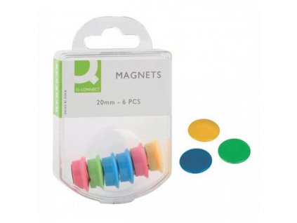 Magnety Q-connect 20mm mix farieb 6 ks
