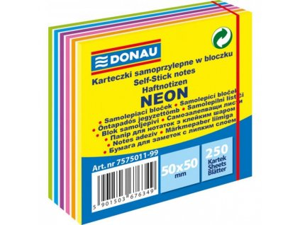 Bloček Donau v 6 neónových farbách 50x50mm 250l