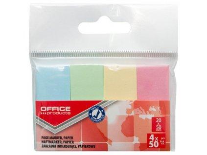 Samolepiace záložky Office Products 20x50mm pastel 4x50 lístkov
