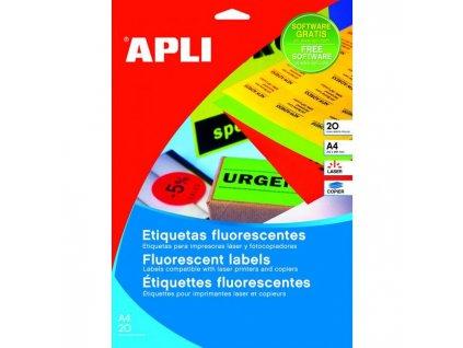 Etikety farebné 210x297mm APLI A4 20 hárkov fluo červené