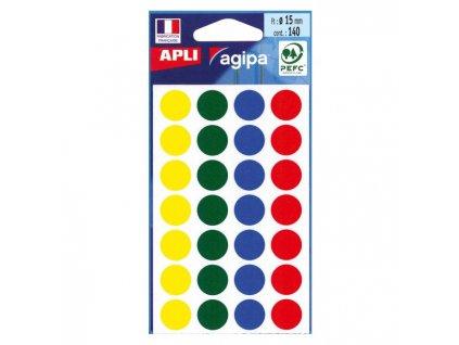Etikety kruhové 15mm APLI mix farieb