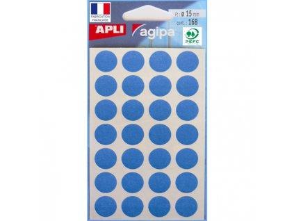Etikety kruhové 15mm APLI modré