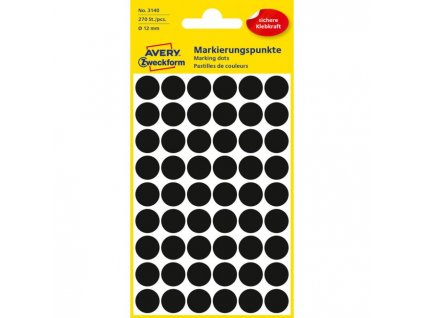 Etikety kruhové 12mm Avery čierne