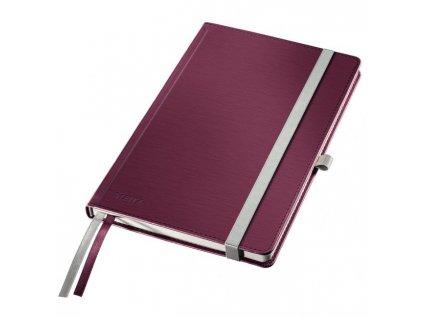 Zápisník linajkový A5 Leitz Style tvrdé dosky granátový červený