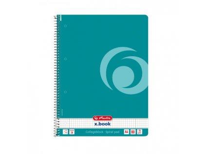 Poznámkový blok College Herlitz A4 80 listov Color Blocking štvorčekový baltický modrý