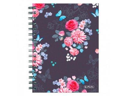 Blok poznámkový štvorčekový Herlitz Ladylike A5 100 listov Kvety