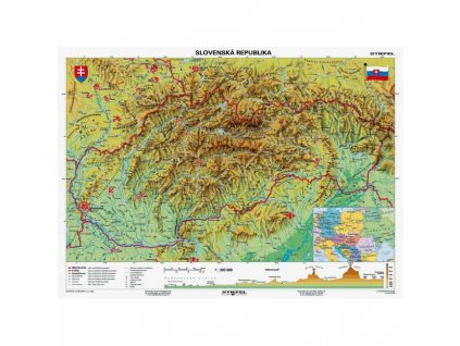 Mapa Slovensko-geografická B1 formát