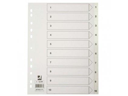 Plastový rozraďovač Q-Connect 10-dielny maxi sivý