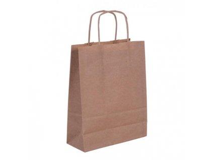 Papierová taška, stáčané ušká, 180x80x240mm, hnedá