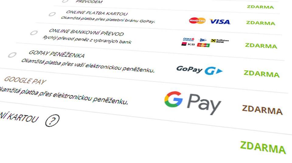 Zavedli jsme novou platební metodu - Google Pay