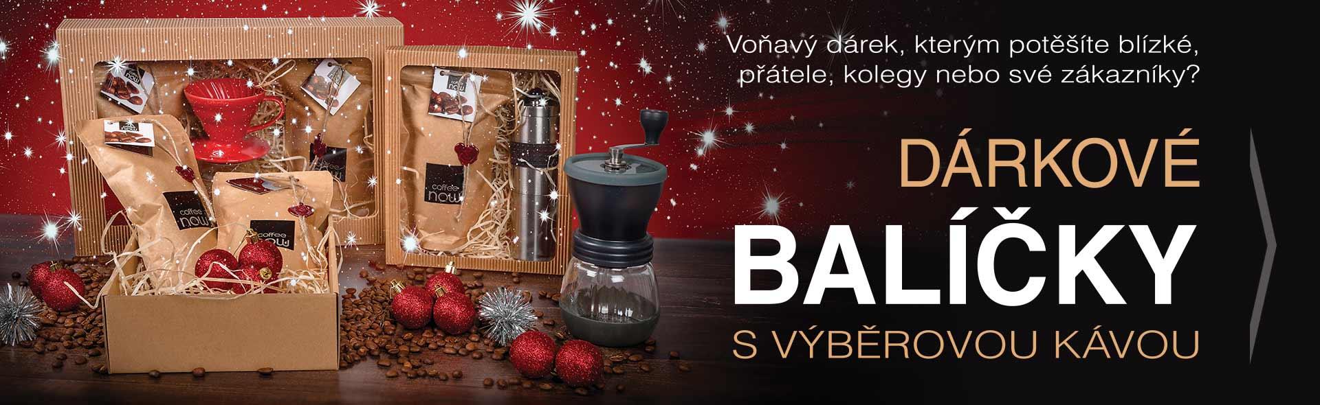 Dárkové balíčky s naší čerstvě praženou kávou a kávovým příslušenstvím nejen na Vánoce