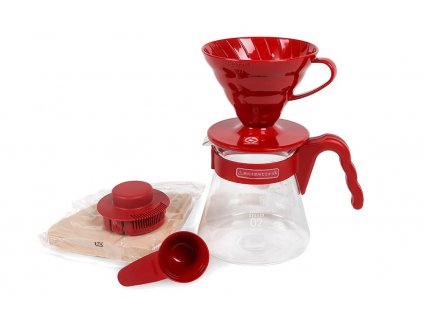 COFFEE NOW SADA HARIO V60 SERVER SET CERVENA 1